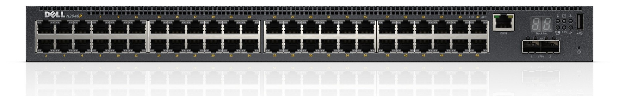 DELL PowerConnect N2048P Managed network switch L2+ Gigabit Ethernet (10/100/1000) Power over Ethernet (PoE) 1U Black