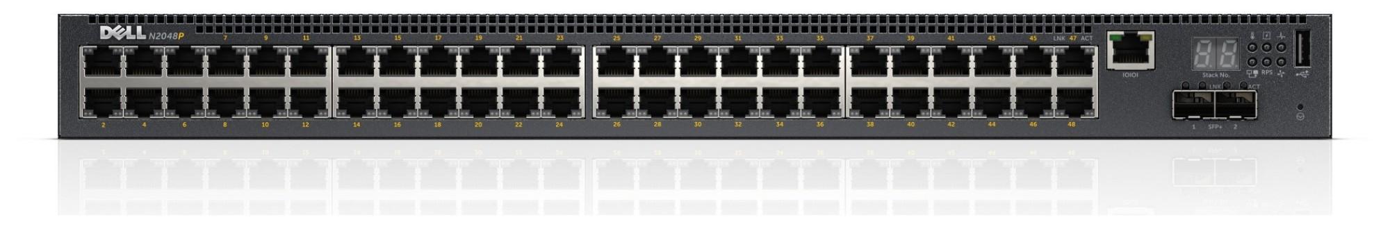 DELL PowerConnect N2048P Managed network switch L2+ Gigabit Ethernet (10/100/1000) Power over Ethernet (PoE) 1U Black