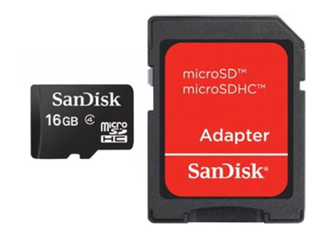 Sandisk 16GB MicroSDHC w/adapter memoria flash Clase 4