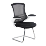 Eliza Tinsley Luna Cantilever Fabric Medium Back Chair (Black Upholstery with White Frame) with Folding Arms DD