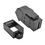 Tripp Lite USB 3.0 All-in-One Keystone/Panel Mount Angled Coupler (F/F), Black