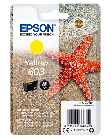 Epson C13T03U44010 (603) Ink cartridge yellow, 130 pages, 2ml