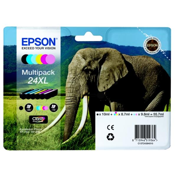 Epson C13T24384011 (24XL) Ink cartridge multi pack, 740 pages, 500pg + 5x740 pg, 1x10ml + 3x9ml + 2x10ml, Pack qty 6