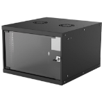 "Intellinet 19"" Basic Wallmount Cabinet, 6U, 560mm Deep, IP20-Rated Housing, Max 50kg, Flatpack, Black"