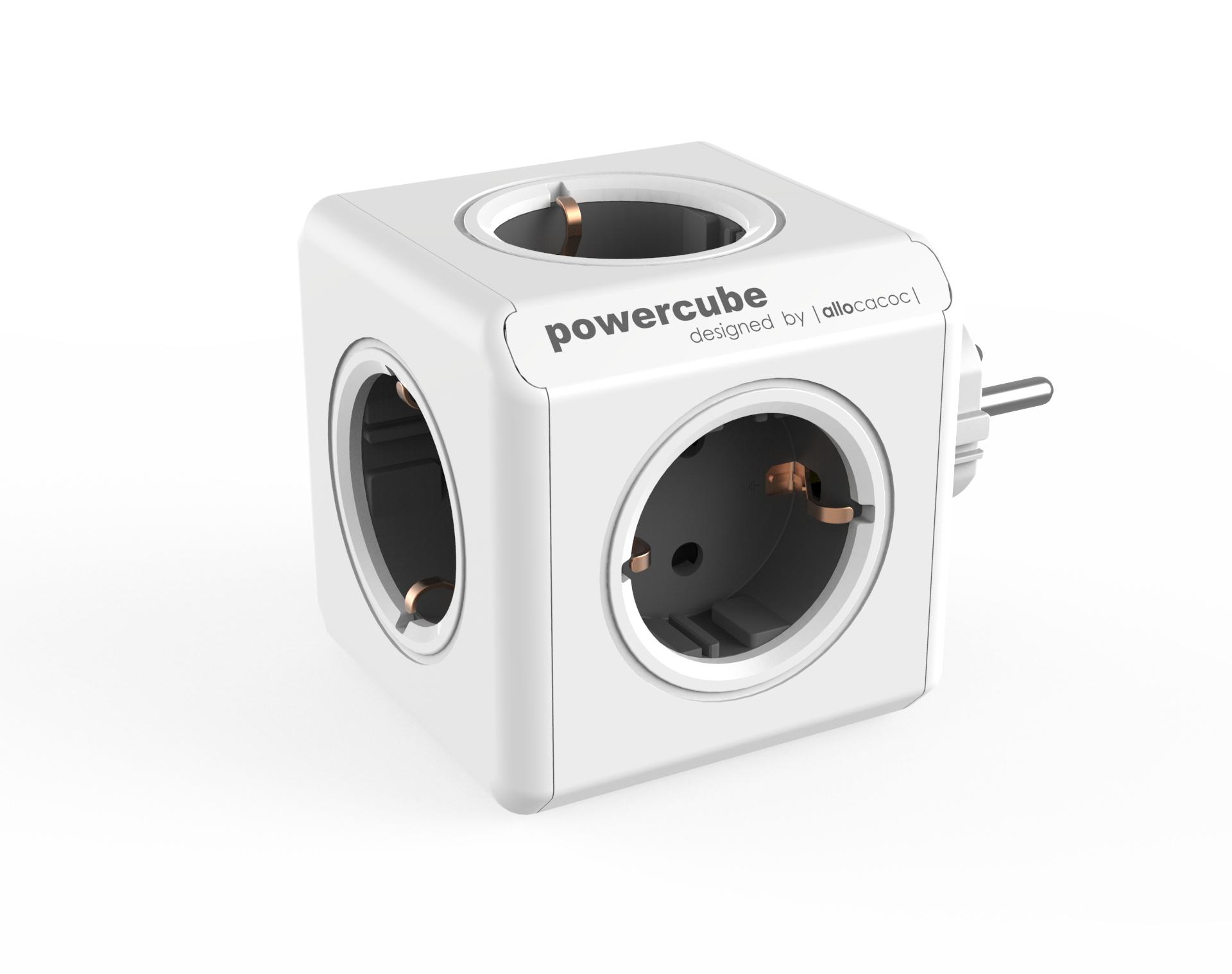 Allocacoc PowerCube Original base múltiple 5 salidas AC Interior Gris, Blanco