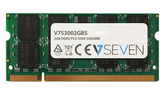 V7 2GB DDR2 PC2-5300 667Mhz SO DIMM Notebook Memory Module - V753002GBS