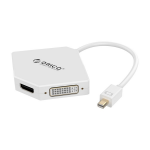 Orico White DMP-HDV3S Mini DisplayPort To HDMI, VGA & DVI Display Adapter