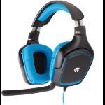 Logitech G430 2x 3.5 mm Biauricular Diadema Negro, Azul auricular con micrófono