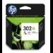 HP Cartucho de tinta original 302XL de alta capacidad tricolor