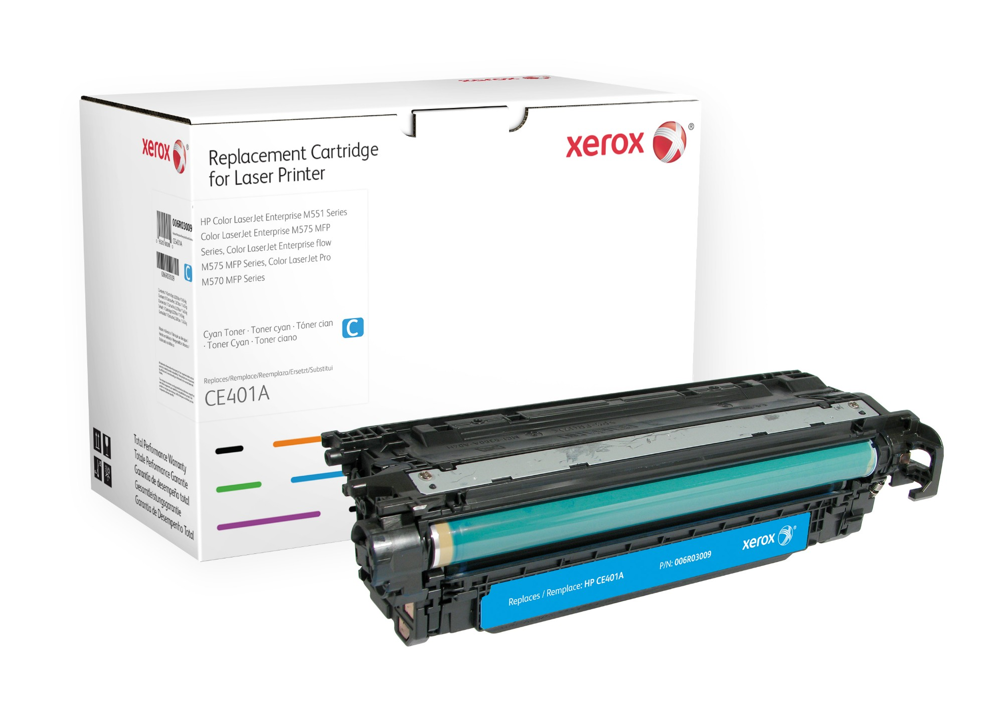 Xerox Cartucho de tóner cian. Equivalente a HP CE401A. Compatible con HP Colour LaserJet M551DN, Colour LaserJet M551