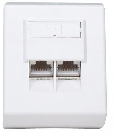 Intellinet Cat5e Surface Mount Box, 2-Port, FTP, White