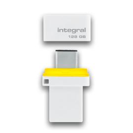 Integral FUSION 3.0 DUAL TYPE-C USB flash drive 128 GB USB Type-A / USB Type-C 3.2 Gen 1 (3.1 Gen 1) White,Yellow