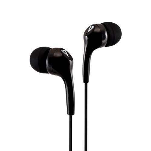 V7 Stereo Earbuds , Lightweight, In-Ear Noise Isolating, 3.5 mm, Black