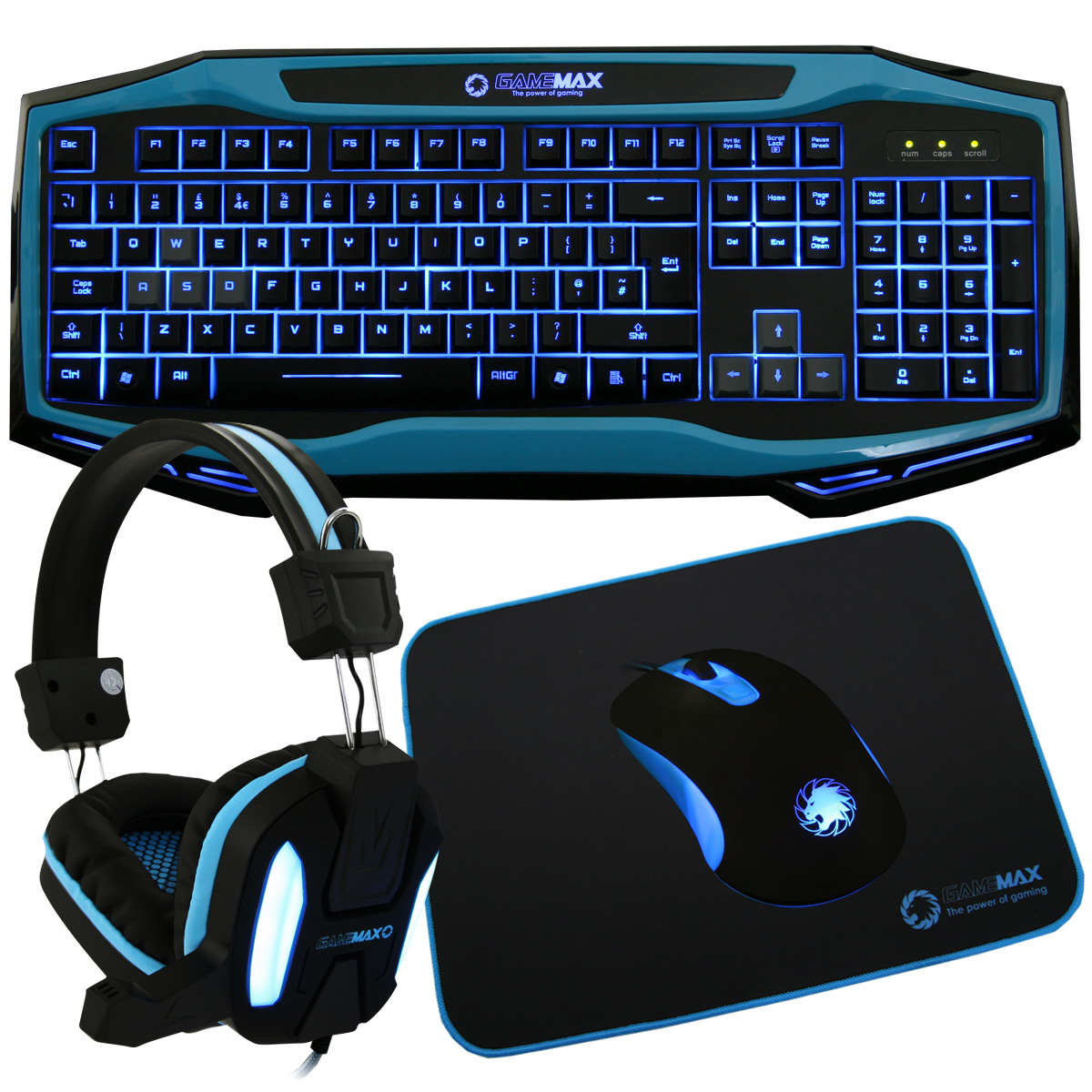 GAMEMAX Raptor Keyboard Mouse Headset Mouse Mat Kit In Blue