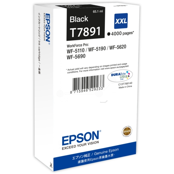 Epson C13T789140 (T7891) Ink cartridge black, 4K pages, 65ml