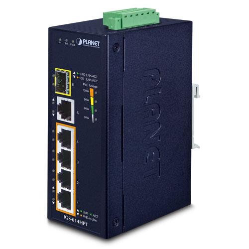 PLANET IGS-614HPT network switch Unmanaged Gigabit Ethernet (10/100/1000) Power over Ethernet (PoE) Blue