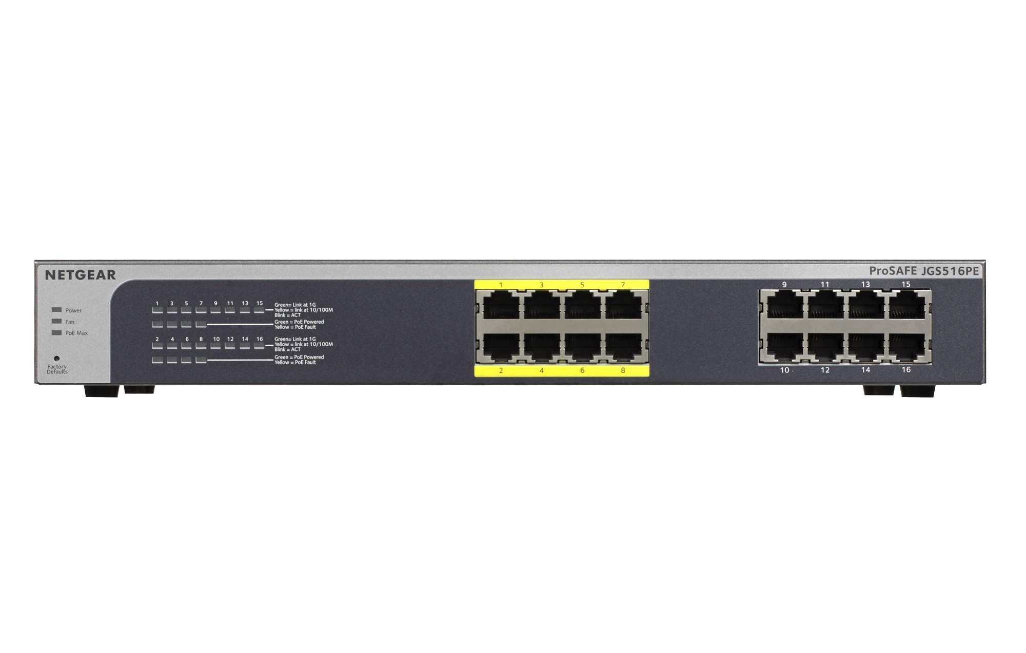 Netgear ProSAFE Unmanaged Plus Switch - JGS516PE - 16 Power over Ethernet (PoE) poorten