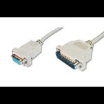 ASSMANN Electronic AK-580105-030-E serial cable Beige 3 m D-Sub25 D-Sub9
