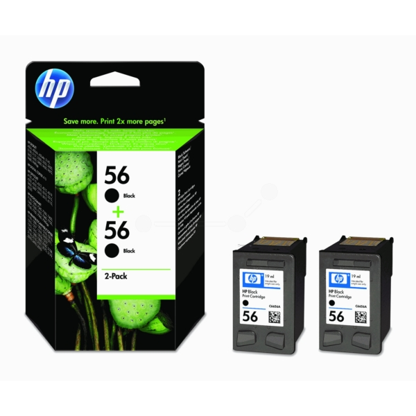 HP C9502AE (56) Printhead black, 520 pages, 19ml, Pack qty 2