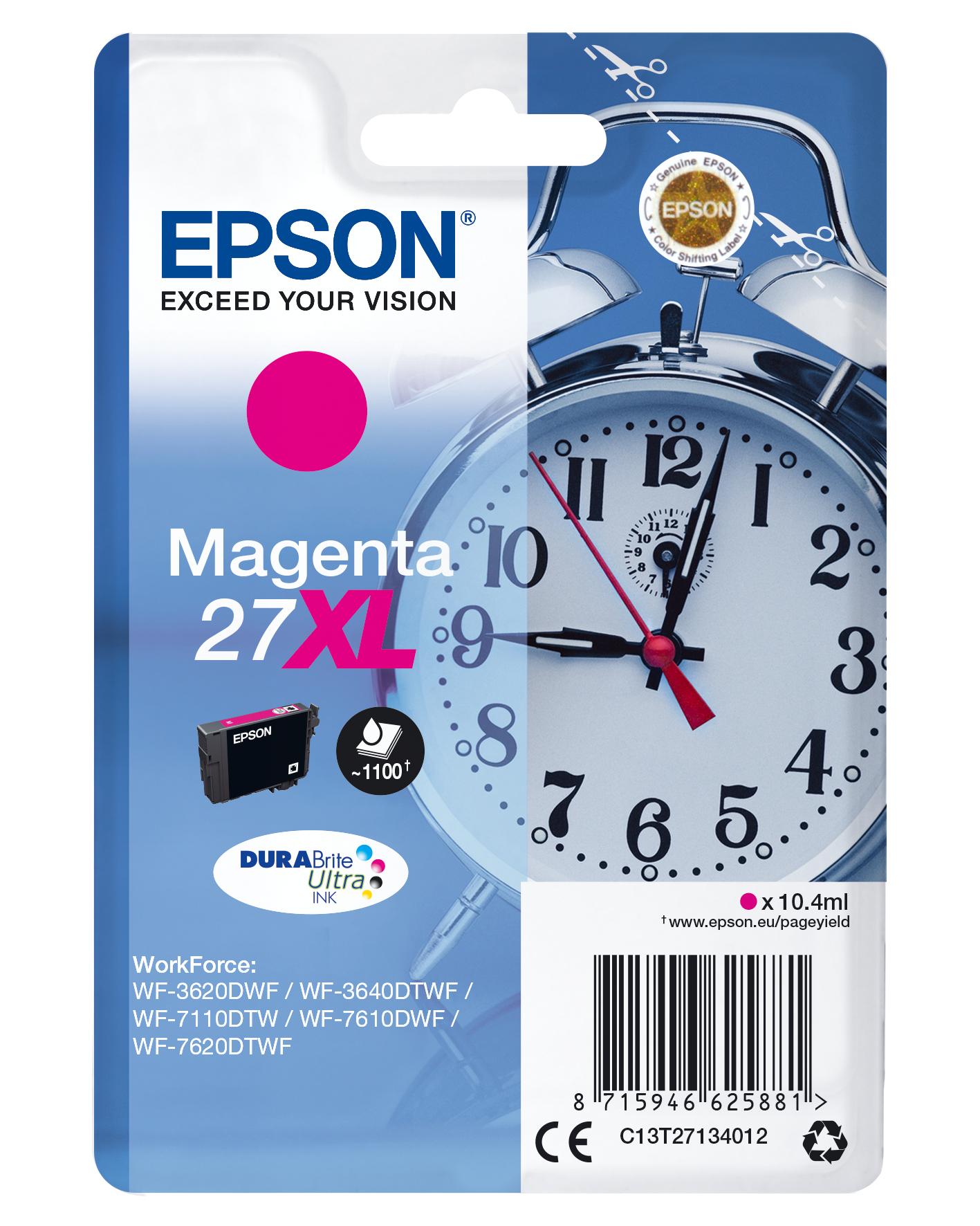 Epson Alarm clock Singlepack Magenta 27XL DURABrite Ultra Ink
