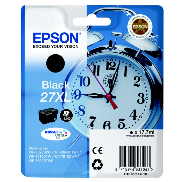 Epson C13T27114010 (27XL) Ink cartridge black, 1.1K pages, 18ml