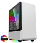 GAMEMAX Panda White Mid Tower Chassis w/ Tempered Glass Window 120mm ARGB Fan USB 3.0 ATX/MicroATX/Mini-ITX
