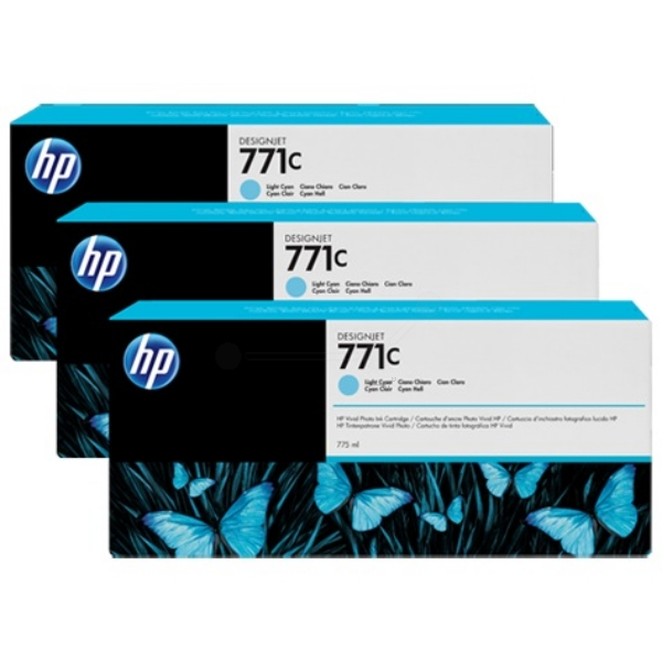 HP B6Y36A (771C) Ink cartridge bright cyan, 775ml, Pack qty 3