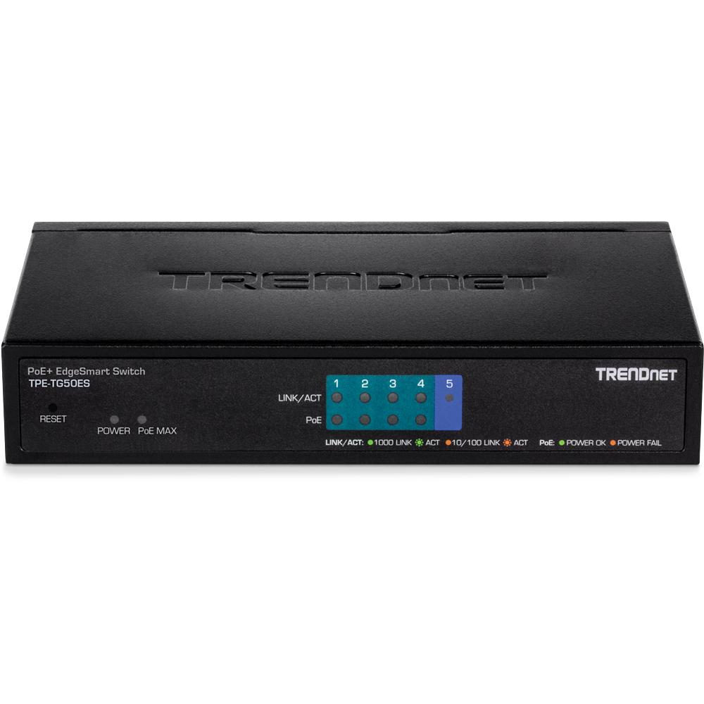 Trendnet TPE-TG50ES switch Gestionado Gigabit Ethernet (10/100/1000) Negro Energía sobre Ethernet (PoE)