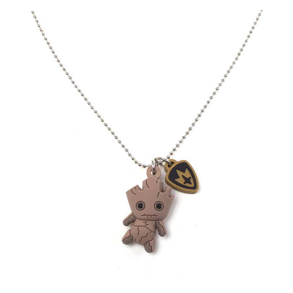 Marvel Guardians of the Galaxy Groot Kawaii 3D Rubber Pendant Chain Necklace, One Size, Beige (JE562407MVL)