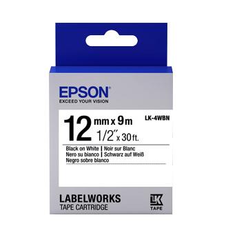 Epson C53S654101 Black on white label-making tape