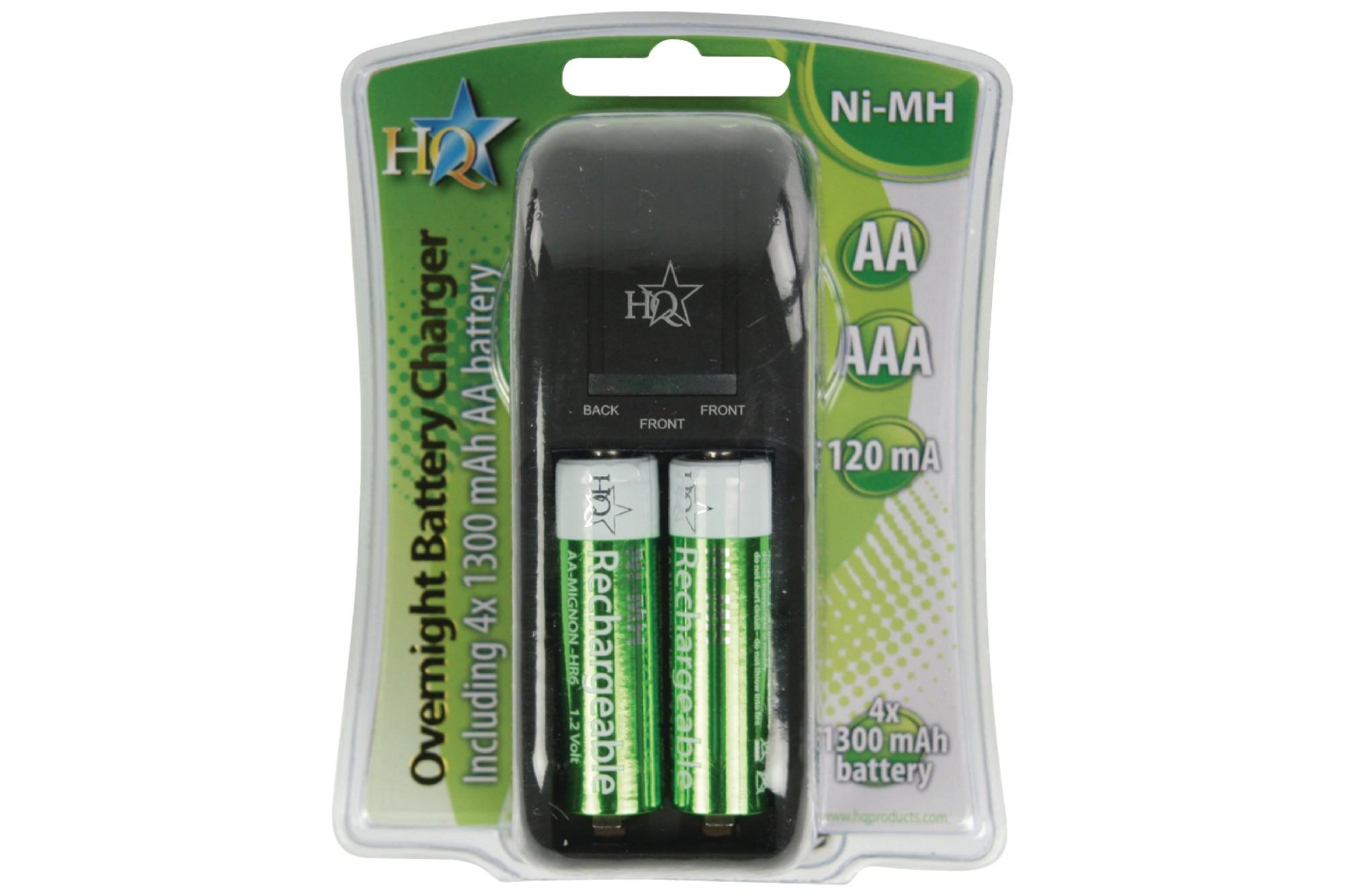 NEDIS HQ Ultra Compact 13amp Battery Charger inc 4xAA 1300mAh Batteries