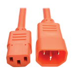 Tripp Lite Standard Computer Power Extension Cord, 10A, 18 AWG (IEC-320-C14 to IEC-320-C13), Orange, 0.91 m