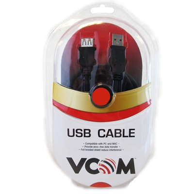 VCOM USB 2.0 A (M) to USB 2.0 A (F) 1.8m Black Retail Packaged Extension Data Cable