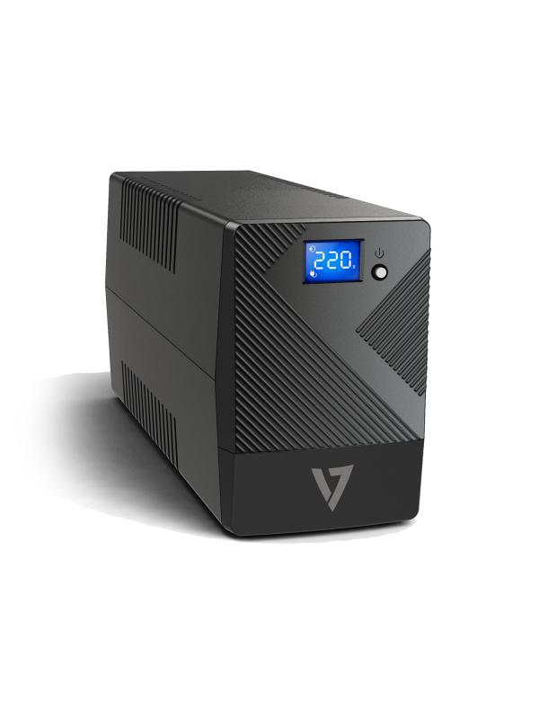 V7 Onduleur 600 VA avec 6 prises, écran LCD tactile (UPS1P600E)
