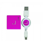 Urban Factory Crazy Hub USB 2.0, 4 ports retractable cable Fuschia