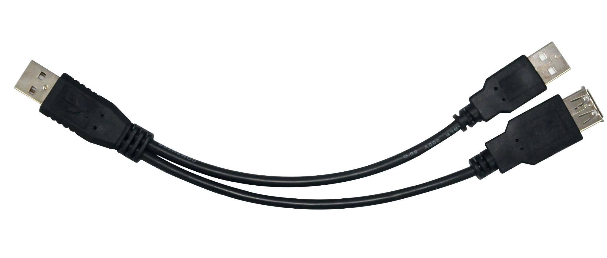 Astrotek USB A M/M+F USB cable 0.3 m 2 x USB Male Female Black