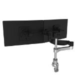 R-Go Tools R-Go Caparo 4 D2 Circular Dual Smartbar Monitor Arm, Desk Mount, Gas Spring, 2-8kg, Black-Silver, Low Carbon Footprint