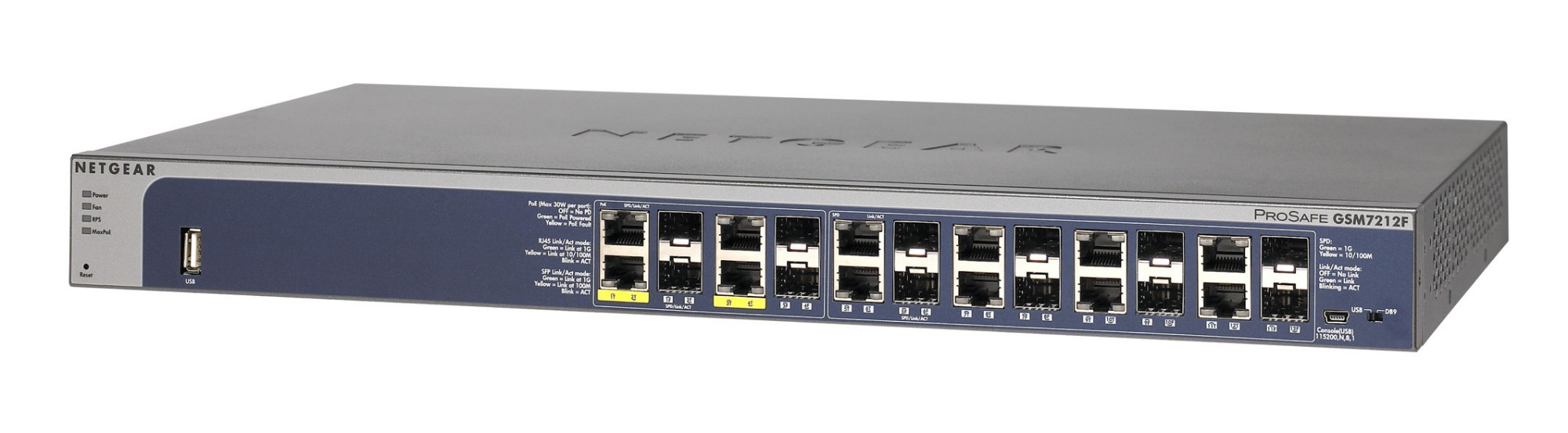 Netgear ProSafe GSM7212F Gestionado L2+ Gris Energía sobre Ethernet (PoE)