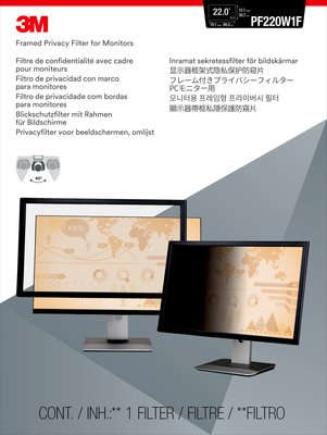 """3M PF220W1F 22"""" Monitor Framed display privacy filter"""