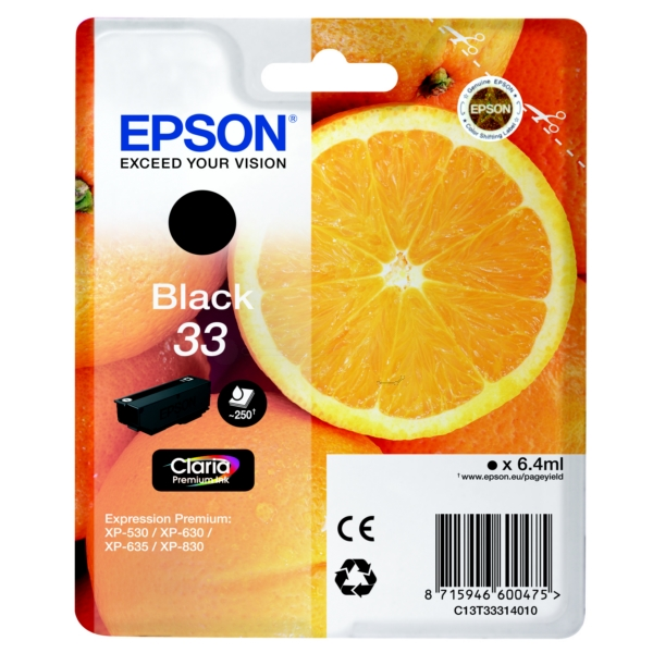 Epson C13T33314010 (33) Ink cartridge black, 250 pages, 6ml