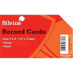 SilverSpoon Silvine Record Cards 127x76mm Ruled White