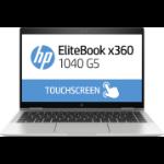 "HP EliteBook x360 1040 G5 Hybrid (2-in-1) Black, Silver 35.6 cm (14"") 1920 x 1080 pixels Touchscreen 8th gen Intel® Core™ i5 8 GB DDR4-SDRAM 256 GB SSD Wi-Fi 5 (802.11ac) Windows 10 Pro"