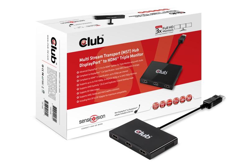 CLUB3D SenseVision MST Hub DP1.2 to HDMI  Triple Monitor