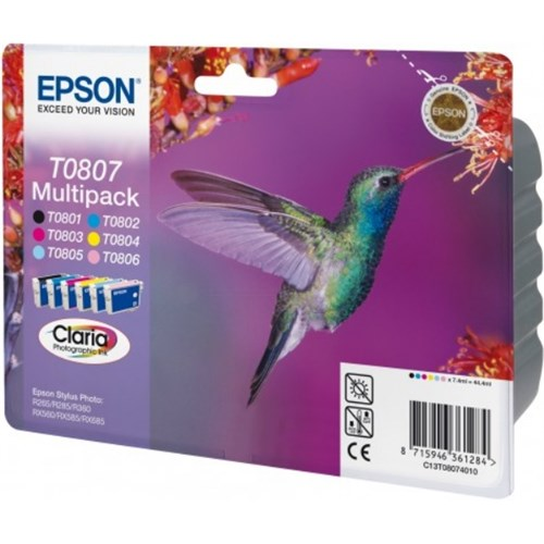 Epson C13T08074510 (T0807) Ink cartridge multi pack, 220 pages, 6x7,4ml, Pack qty 6