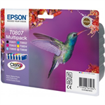 Epson C13T08074021 (T0807) Ink cartridge multi pack, 220 pages, 6x7,4ml, Pack qty 6