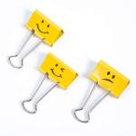Rapesco 19mm Foldback Clips Assorted Emojis Yellow PK20