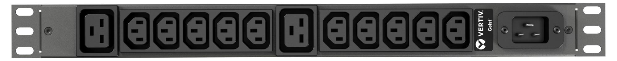 Vertiv Geist rPDU, basic, 1U, input C20 230V 16A, outputs (10)C13 | (2)C19 unidad de distribución de energía (PDU) Negro 12 salidas AC