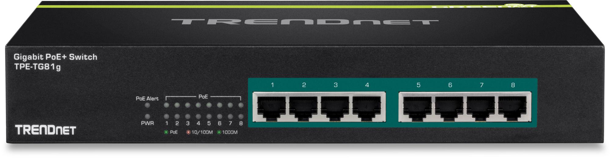Trendnet TPE-TG81g No administrado Gigabit Ethernet (10/100/1000) Negro Energía sobre Ethernet (PoE)
