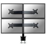 "Newstar Tilt/Turn/Rotate Quad Desk Mount (clamp) for four 19-30"" Monitor Screens, Height Adjustable - Black"