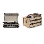 Crosley Cruiser Deluxe Portable Turntable (Herringbone) + Free Storage Crate